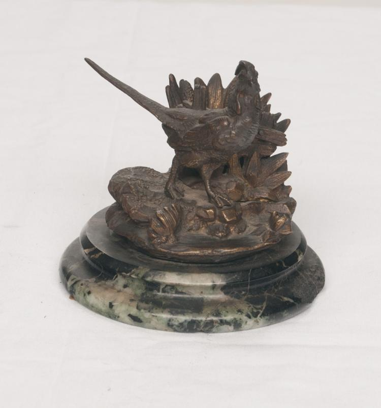 French bronze and marble pen holder paperweight with a pheasant standing in front of a basket, 3.5