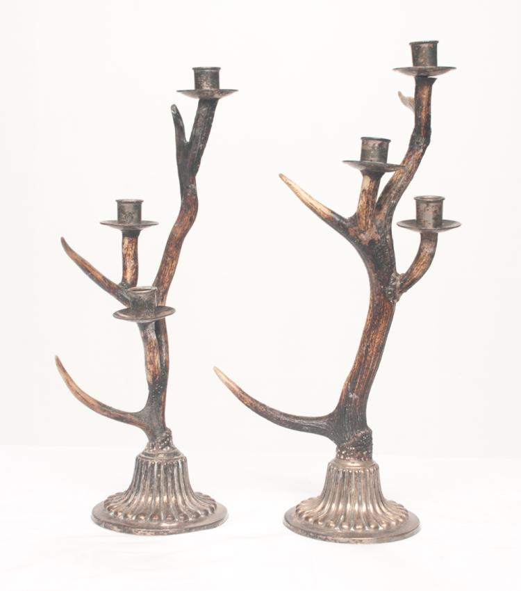 Pair of three branch antler candelabra with silver plated candleholders and fluted silver plated bases, 20.5