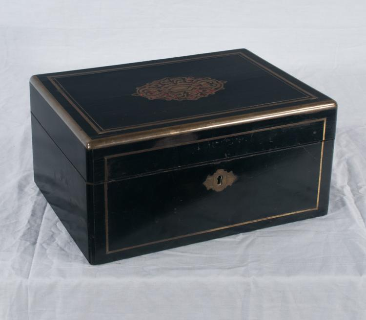 Brass bound black lacquered jewelry box with brass inlaid top, c.1890, 11 wide, 8.5
