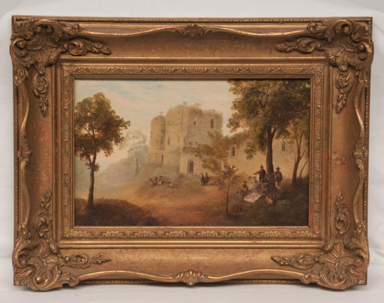 19th century oil painting on canvas castle scene with group of people having a picnic, signed Roe, canvas size 8