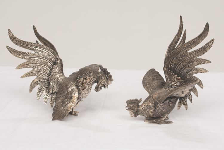 Pair of silver plated fighting cocks, 8
