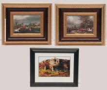Pair of framed prints of English fox hunting scenes with huntsmen on horseback and large group of hunting dogs, print is 6