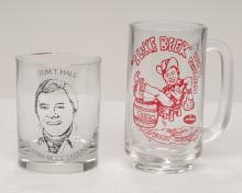 Group of seven glass beer mugs with enamel decoration of Tom T. Hall, inscribed I Like Beer recorded and written by Tom T. Hall, 5.5