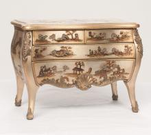 Decorated Louis XV style bombe miniature commode with brass mounts, 12.5