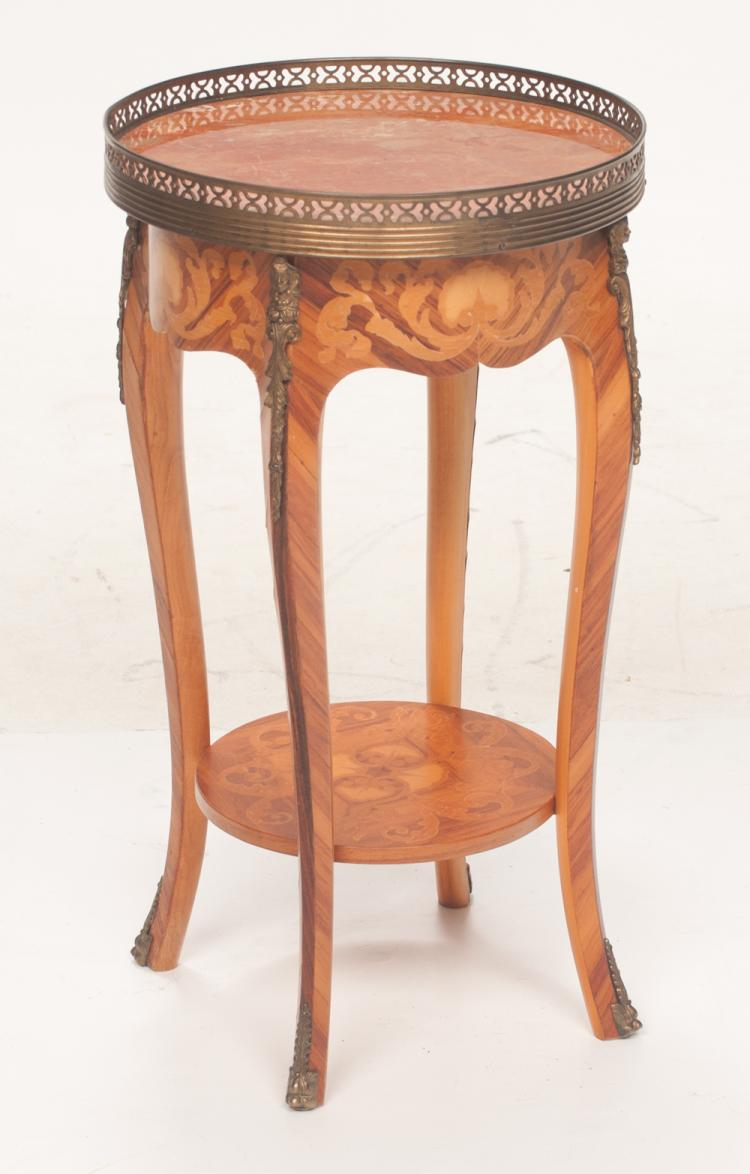 Louis XV style walnut circular marble top stand with pierced brass gallery and satinwood scroll and shell inlay, with bronze mounts, 13