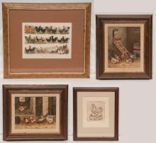 Framed German print illustrating 12 different species of chickens, print size 8.5