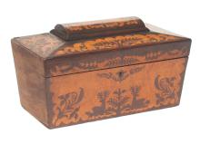 Sheraton rosewood tea caddy with satinwood inlay with leaf and deer decoration with coffered lid, c.1890, some Tom T. Hall memorabilia inside, 12