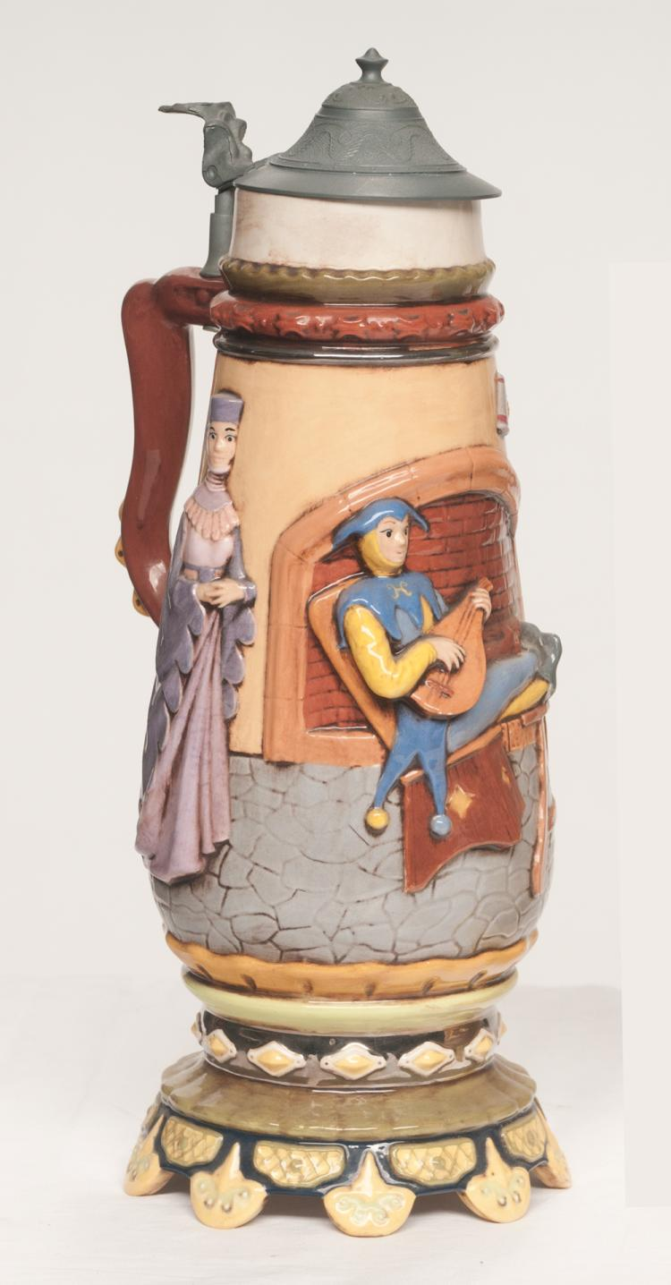 English beer stein with figures with a courting scene decoration with a jester, mother and young couple, 15