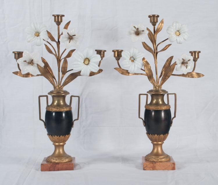 Pair of two branch French bronze candelabra with glass flowers and marble bases, c.1890, As Found (some flower petals missing), 10