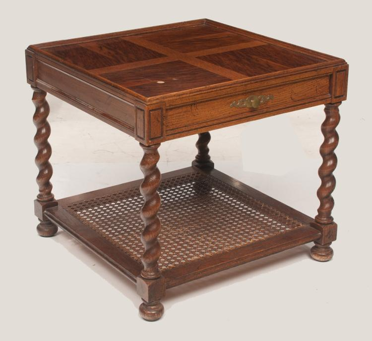 Jacobean style oak side table with moulded top, one drawer on barley twist legs with lower cane panel platform, 26