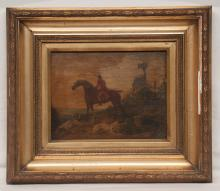 19th century oil painting on panel landscape scene with huntsman on horseback with two hunting dogs, panel size 9