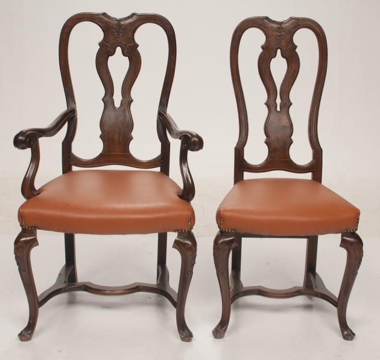 Set of eight County French style fruitwood dining chairs with carved splat backs on carved cabriole legs with stretchers, armchairs 23