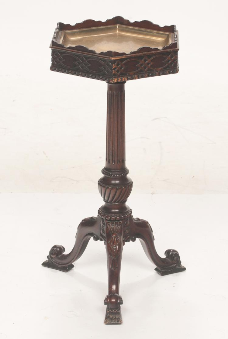 Chippendale style mahogany hexagonal shaped smoking stand with blind fret carving on top, fluted column on three carved cabriole legs, 11