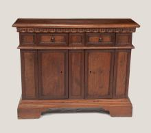 English oak and mahogany serving cabinet with carved cornice above two drawers with two cupboard doors in the base on bracket feet, c.1890, 42