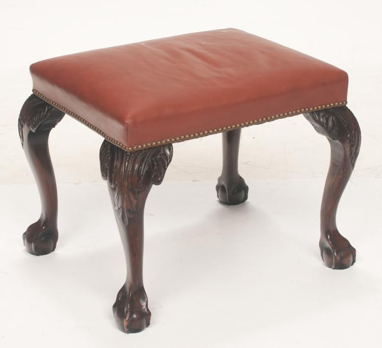 Chippendale mahogany stool on cabriole legs with acanthus carved knees and ball and claw feet, 23