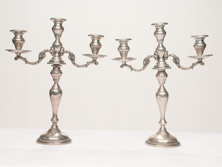 Pair of Frank Whiting three branch sterling silver candelabra in the Lily pattern, c.1890