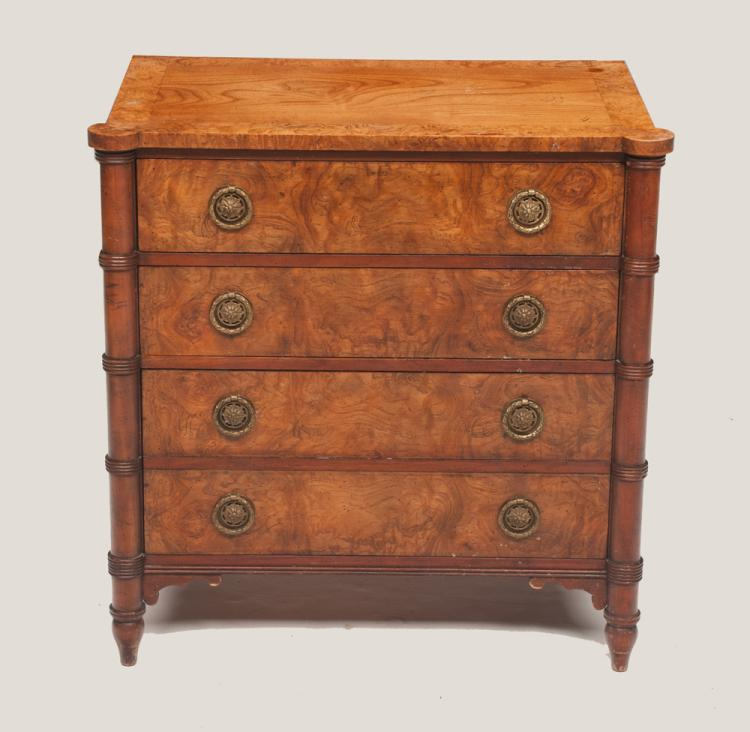 Sheraton style elm chest with burl wood banded top, rounded bamboo design corners and four drawers, by Baker Furniture Co., 24.5