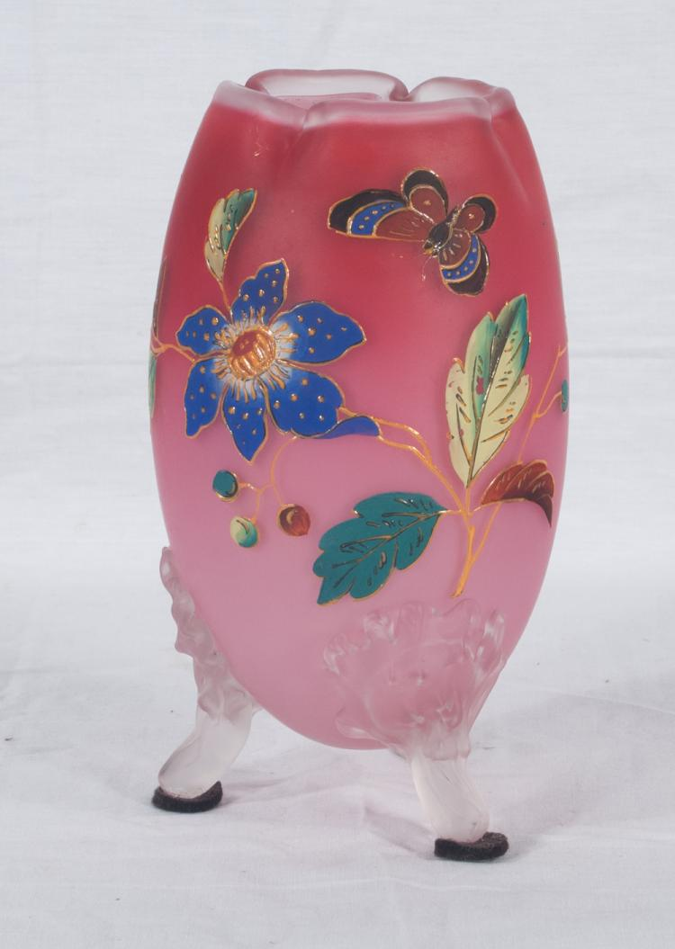 American peach blow style art glass vase with enamelled butterfly and floral decoration, c.1920, 8