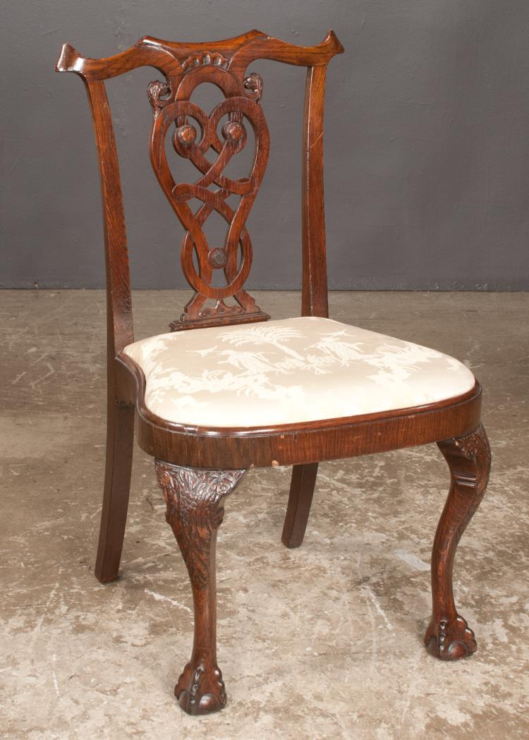 Chippendale mahogany side chair with scroll carved back, balloon shaped seat on cabriole legs with ball and claw feet, 22