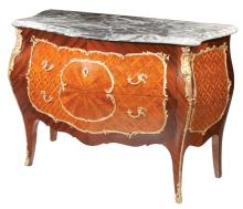 Louis XV style bronze mounted walnut marble top bombe commode with parquetry inlay on the drawer fronts and on the sides, 46