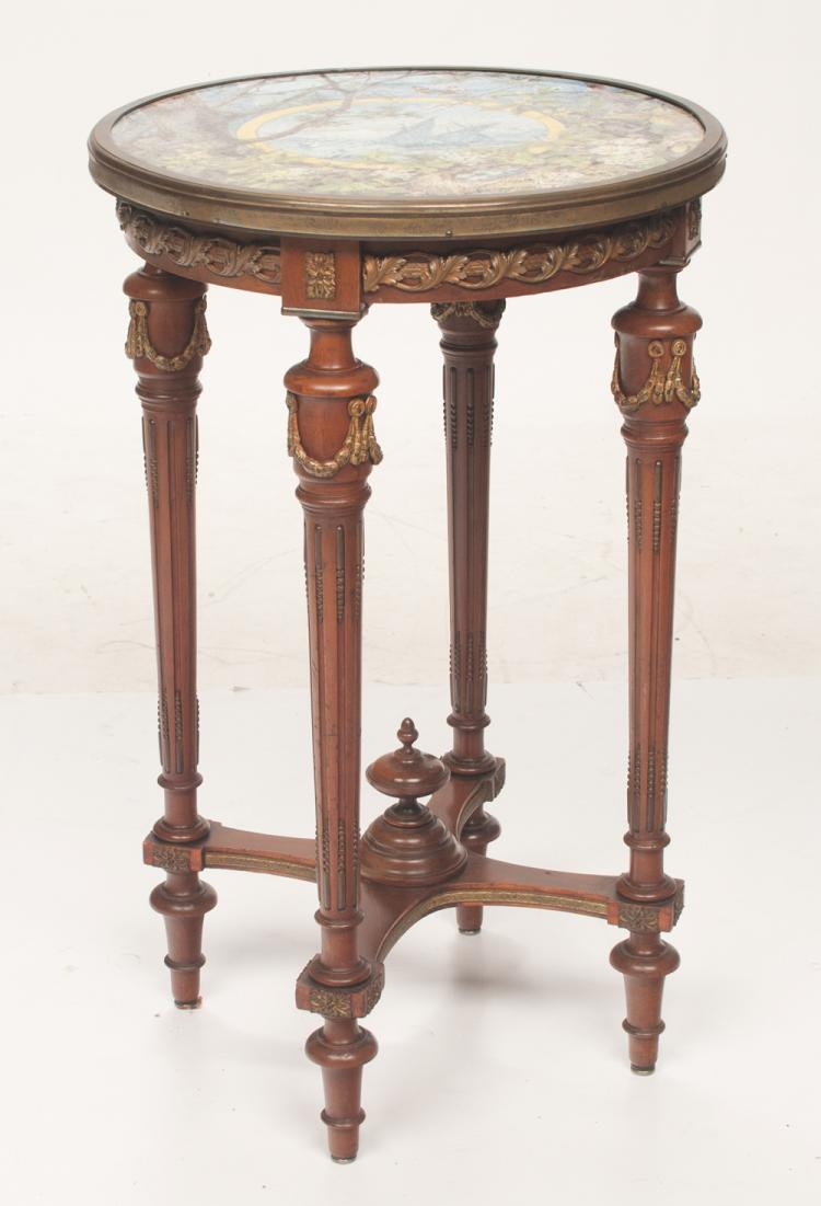 Louis XVI style bronze mounted salon table with porcelain top decorated with butterfly and floral garden, center of table has an ocean scene with sailing ships, c.1900, As Found (old hair line crack in top), 20.5