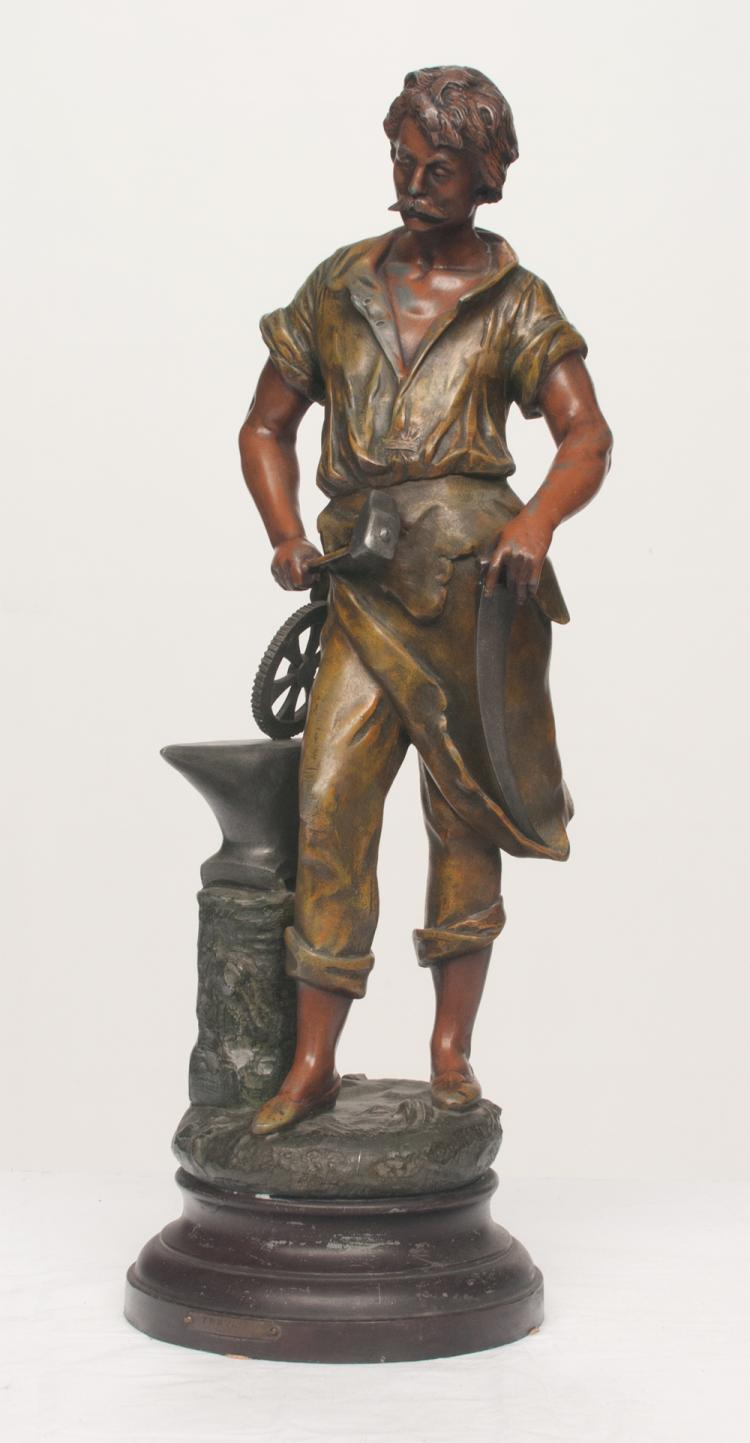 French spelter sculpture of a blacksmith standing next to his anvil, c.1900, 23
