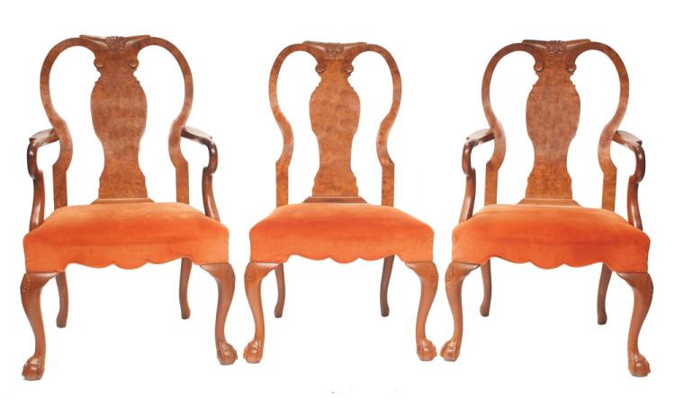 Set of eight Georgian style walnut dining chairs with urn shaped shell carved backs, shepherd crook arms on cabriole legs with carved knees and ball and claw feet, armchairs: 24