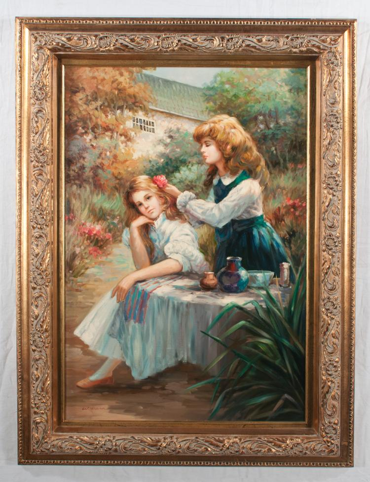 Oil painting on canvas, garden scene with two young girls, one seated and one standing behind her pining a flower in the girls hair, signed Williams, canvas size 36