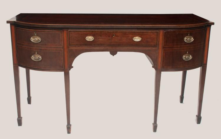 Sheraton mahogany bow front sideboard with rosewood cross-banded top, string satinwood inlay on square tapered legs with spade feet, c.1800, 67