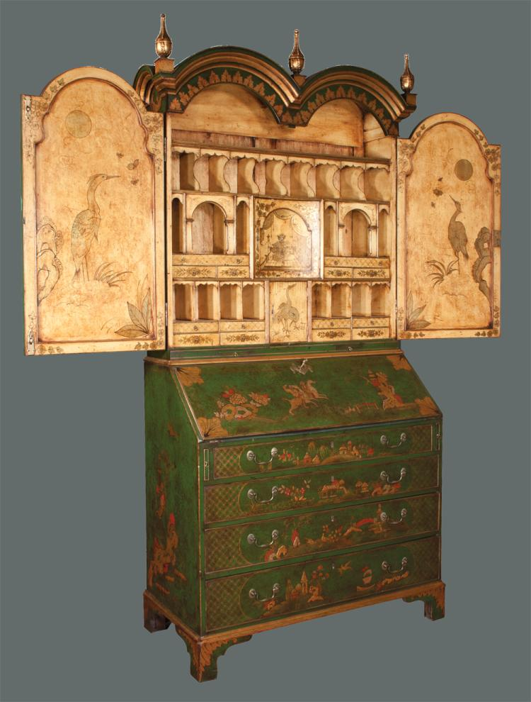 Queen Anne style emerald and gold chinoiserie lacquered bureau bookcase with finely fitted interior, c.1880, 44
