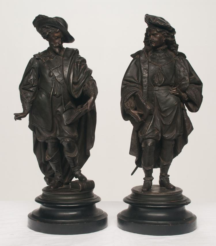 Pair of French Spelter figures of noblemen, 21