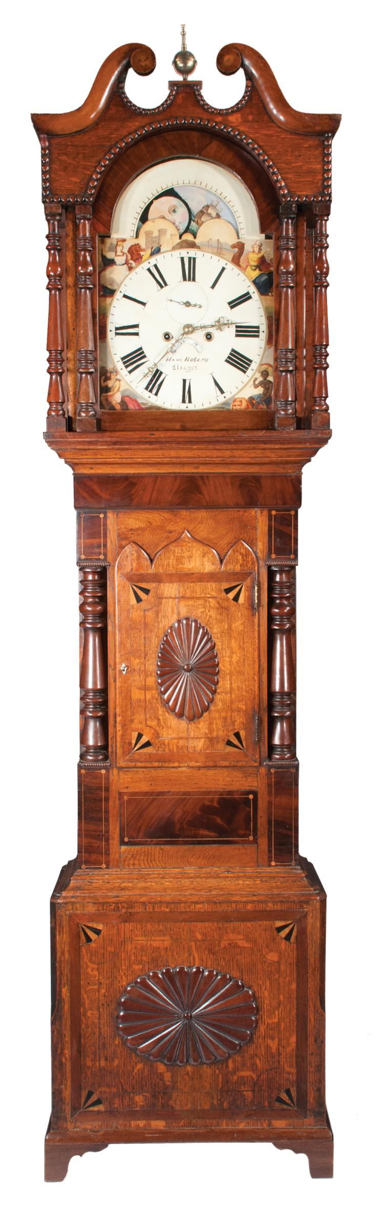 Chippendale oak and mahogany grandfather clock with broken arch pediment, moon phase movement, signed Hank Roberts, c.1860, 52