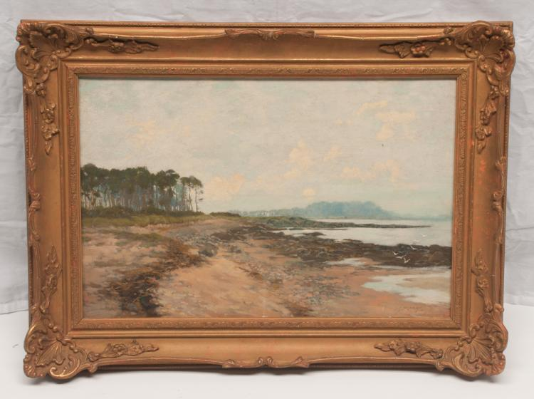 19th century English landscape coastal scene painting with forest scene and rock formation in the background, signed J. S. Murray, canvas size 14