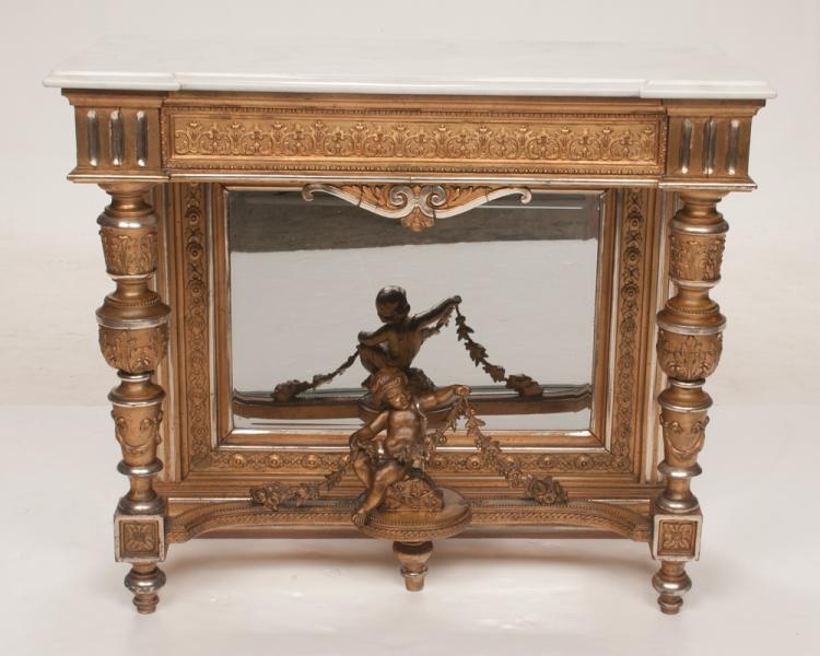 Louis XVI marble top silver and gold gilt console table with turned and leaf carved legs and carved figure of a putti at the base, c.1890, 37