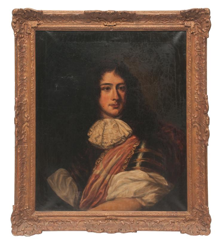 Oil painting on canvas portrait of Charles II in original gold gilt frame, canvas size 30