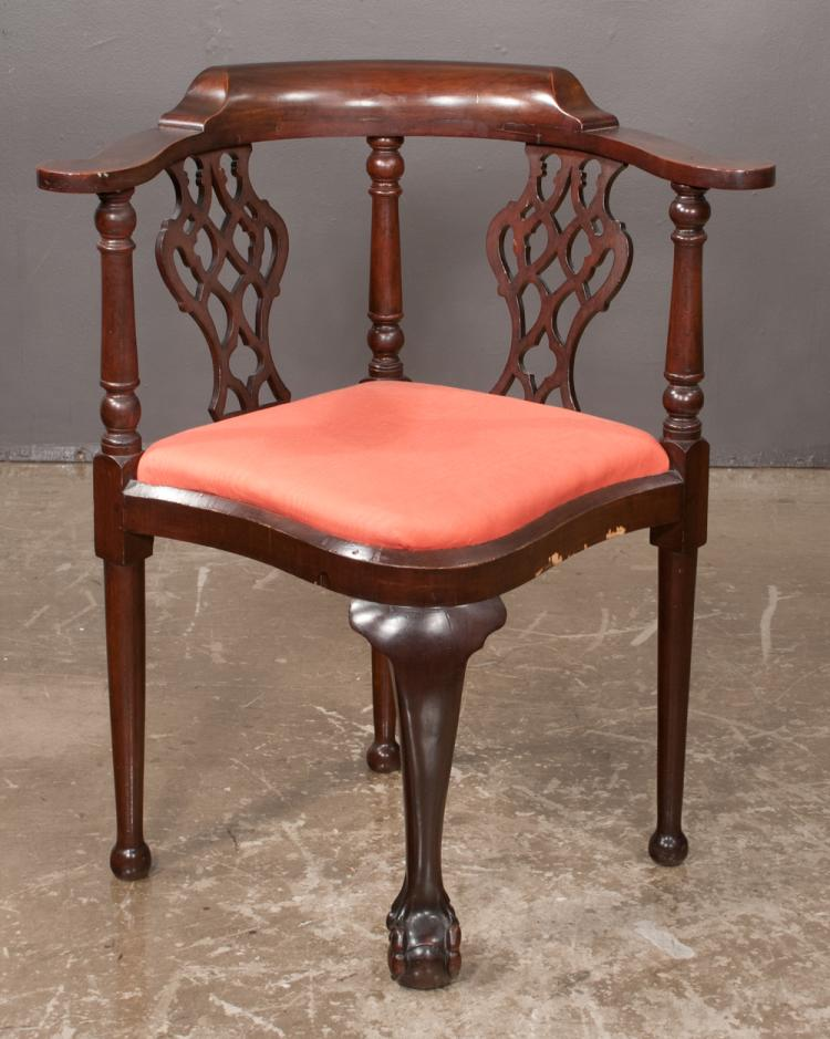 Chippendale style mahogany corner chair with pierced splat back, front cabriole legs with ball and claw foot, 26
