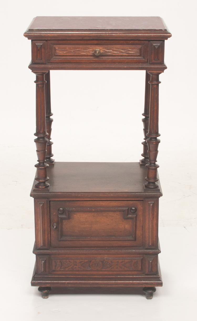 French walnut marble top stand with one drawer and cupboard door in the base