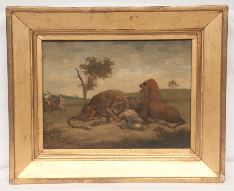 Early 20th century oil painting on canvas, landscape scene with two lions and their prey with two hunters on horseback, signed lower left, canvas size 9.5