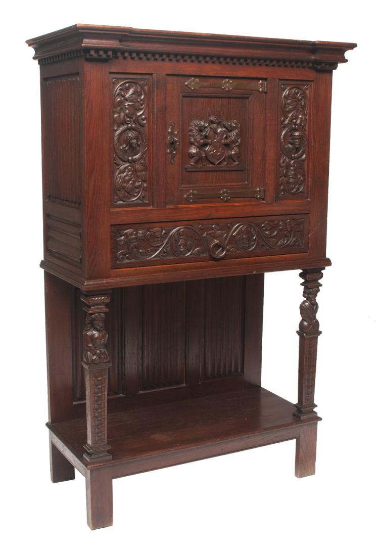 Jacobean style oak court cupboard with dentil work crown moulding, center door with carved coat of arms, side panels with carved busts of woman and man, linen fold carved sides, legs have figural carvings with lower shelf and linen fold panel back, c. 1860, 38