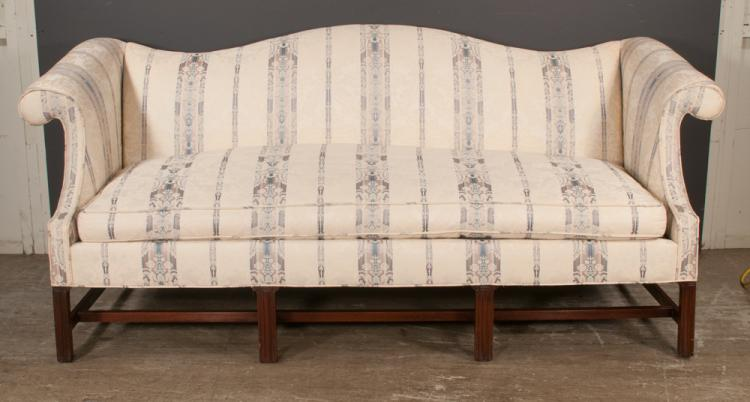 Chippendale style mahogany sofa with camel back, roll over arms on straight moulded legs with stretcher, 84