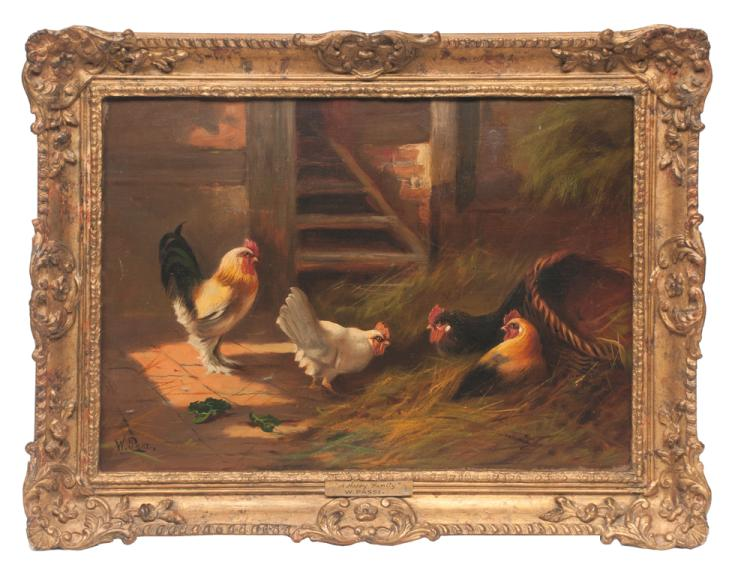 19th century oil painting on canvas, of a group of chickens in a stable, titled A Happy Family, signed W. Passi, canvas size 16