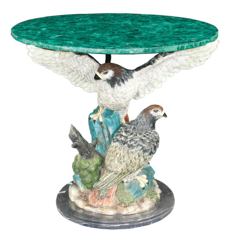 Fine salon table with two decorated cast red tail hawks on a marble platform and with a malachite top, 34
