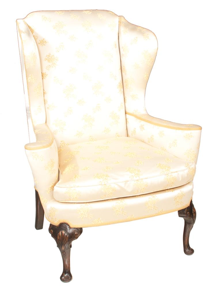 Queen Anne style mahogany wing chair with scroll out arms on cabriole legs with shell carved knees and pad feet, c.1880, 36