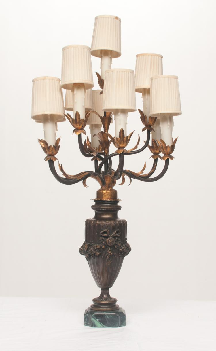 French bronze 10 light urn shaped candelabra lamp with ribbon and floral decoration in relief mounted on a marble base, 12