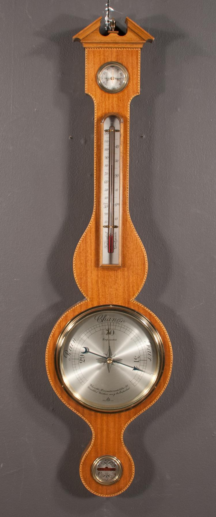Inlaid Sheraton mahogany barometer with shaped pediment, 36