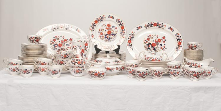 Set of 97 pieces of English Aynsley china with cobalt blue, gold and bittersweet bird and floral decoration, Bird of Paradise pattern