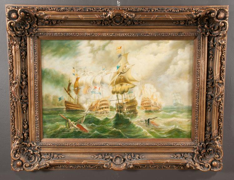 Oil painting on canvas of a nautical battle scene, The Battle of Trafalgar, in gold gilt frame, canvas size 24