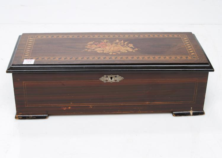 Swiss cylinder music box playing six tunes fitted in a rosewood case with leaf, floral and geometric marquetry inlay, c.1900, 20