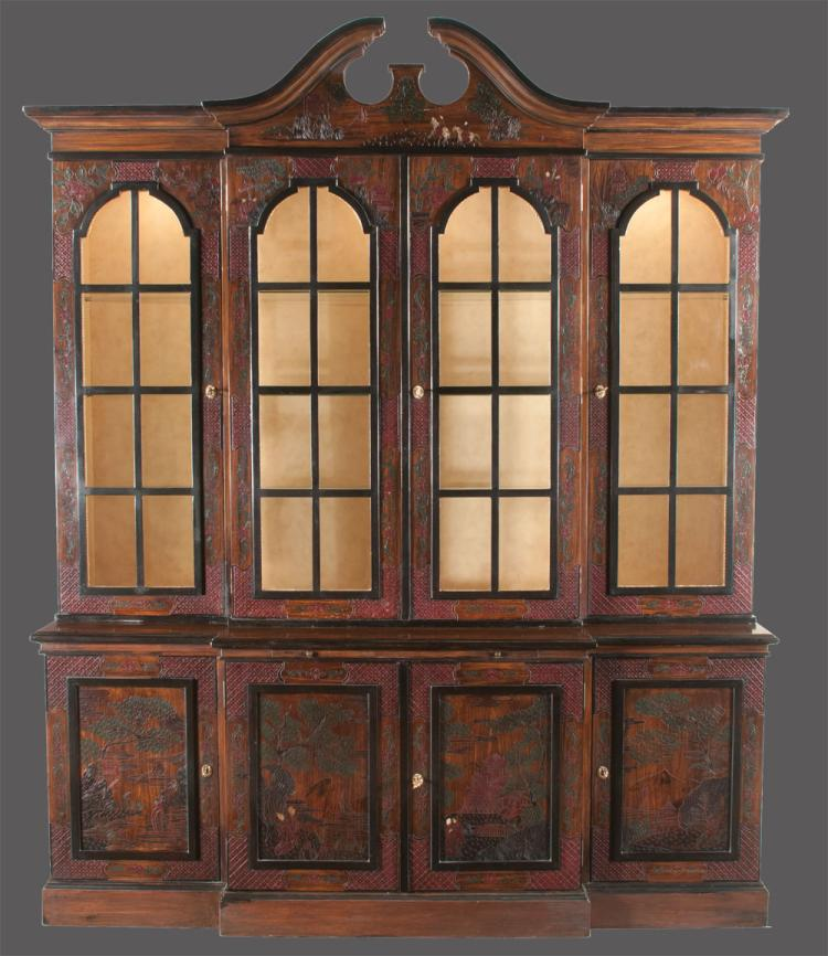 English mahogany breakfront bookcase with chinoiserie lacquered and carved decoration, broken arch pediment, arched mullion glass doors in the top and panel doors in the base, 80î wide, 23î deep, 95î high