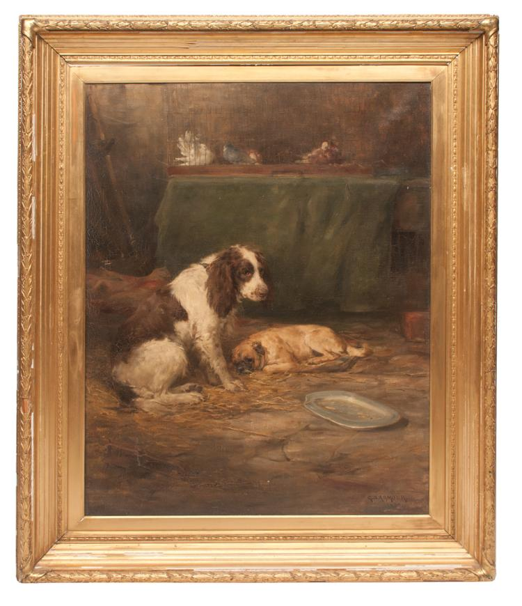 19th century oil painting on canvas stable scene with two dogs and with a cage of pigeons on top of a table, signed G. D. Armour 1888, canvas size 46